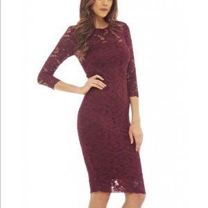 Ax Paris lace burgundy midi dress